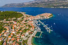 Korcula old town aerial photo Royalty Free Stock Photography
