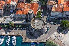 Korcula old town aerial photo Stock Image
