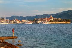 Korcula old town in early morning light, Croatia Stock Photography