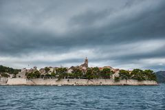 Korcula Old Town during a stormy weather Royalty Free Stock Photography