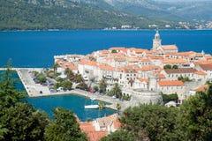 Korcula - Panorama. Kroatien, Europa. Stockbild