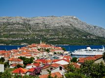Korcula stad i Kroatien Arkivfoton