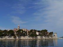 Korcula town in the Peljesac canal in Croatia Stock Photo