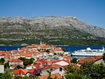 Korculastad in Kroatië stock foto's