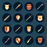 Kordzika i osłony ikony ustawiać Fotografia Royalty Free