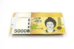 Koreańczyk Wygrywał waluta rachunki Zdjęcia Royalty Free