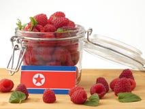 Koreańczyk Z Korei Północnej flaga na drewnianym panelu z malinkami odizolowywać dalej Obrazy Stock