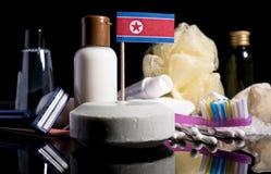 Koreańczyk Z Korei Północnej flaga w mydle z wszystkie produktami dla peop Obraz Stock