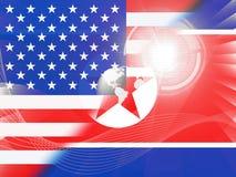 Koreańczyk Z Korei Północnej I Ameryka Sankcjonujemy rozmów 3d ilustrację ilustracji