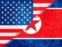 Koreańczyk Z Korei Północnej I amerykanin Sankcjonujemy rozmów 3d ilustrację royalty ilustracja