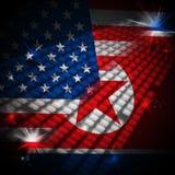 Koreańczyk Z Korei Północnej I amerykanina sankcj zagrożenia 3d ilustracja royalty ilustracja