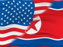 Koreańczyk Z Korei Północnej I My ochrony ryzyka 3d ilustracja ilustracja wektor