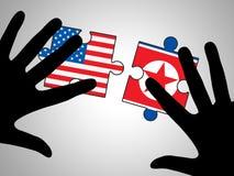 Koreańczyk Z Korei Północnej I My ochrony ryzyka wyrzynarki 3d ilustracja ilustracja wektor