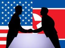 Koreańczyk Z Korei Północnej I USA Dyplomatyczna ręka Trząść 3d ilustrację ilustracja wektor