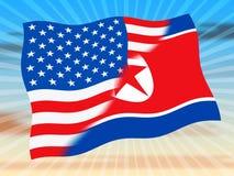 Koreańczyk Z Korei Północnej I Usa ochrony ryzyka 3d ilustracja royalty ilustracja
