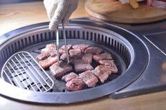 Koreańczyka BBQ grilla wołowiny chłodny plasterek obrazy stock