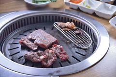 Koreańczyka BBQ grilla wołowiny chłodny plasterek fotografia royalty free