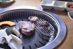Koreańczyka BBQ grilla wołowiny chłodny surowy plasterek zdjęcia royalty free