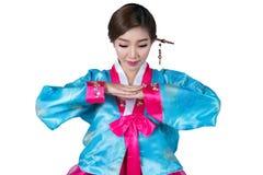 Koreańska dama w powitanie akci i Korea oryginał ubieramy z iso Zdjęcia Royalty Free