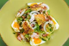 Koreańska sałatka z jajkiem i owoce morza Obrazy Royalty Free