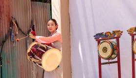 Koreański bębenu taniec wykonujący przy San Diego zoo safari parkiem Obrazy Stock