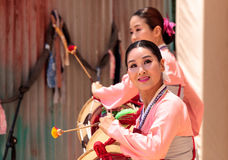 Koreański bębenu taniec wykonujący przy San Diego zoo safari parkiem Fotografia Stock