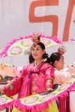 Koreański fan taniec wykonujący przy San Diego zoo safari parkiem Zdjęcia Royalty Free