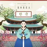 Koreański rocznika plakat ilustracja wektor