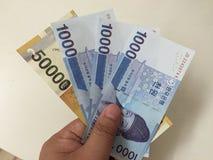 Koreańskiego pieniądze nowe notatki Fotografia Stock