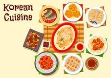 Koreańskiej kuchni główni naczynia i deserowa ikona royalty ilustracja