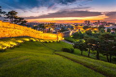 Korea Architecture Traditional landscape at Hwaseong Fortress Stock Image