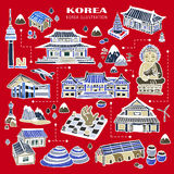 Korea attractions collection Stock Image