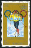 Winter Olympic Games. KOREA DPR - CIRCA 1978: stamp printed by Korea DPR, shows Winter Olympic Games, Sapporo-Innsbruck, Skier, circa 1978 Royalty Free Stock Images