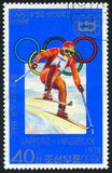 Winter Olympic Games. KOREA DPR - CIRCA 1978: stamp printed by Korea DPR, shows Winter Olympic Games, Sapporo-Innsbruck, Skiier, circa 1978 Royalty Free Stock Image