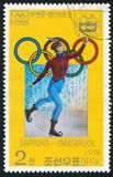 Winter Olympic Games. KOREA DPR - CIRCA 1978: stamp printed by Korea DPR, shows Winter Olympic Games, Sapporo-Innsbruck, 19th century skater, circa 1978 Stock Photography