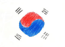 Korea flag pencil drawing illustration kid style photo Stock Photos