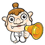 Korea goblin Mascot the hand is holding a loudspeaker. Korea Tra Stock Images