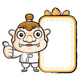 The Korea goblin mascot holding a big board. Korea Traditional C Stock Images