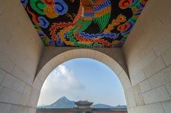 Korea Gyeongbokgung slott i Seoul, Sydkorea Arkivbilder