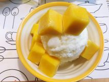 Korea ice cream with mango on white bowl. Korea dessert Royalty Free Stock Photography
