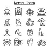 Korea icon set in thin line style vector illustration