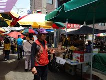 Korea land, marknad, arkivfoto