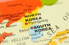 Korea on map. Close up of Seoul, South Korea on map royalty free stock photo