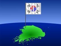 Korea met de vlag van Seoel vector illustratie