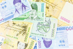 Korea money with on white background Royalty Free Stock Photos