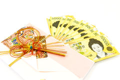 Korea money wit Gift envelope on white background Royalty Free Stock Image