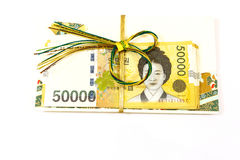 Korea money wit Gift envelope on white background Stock Photo