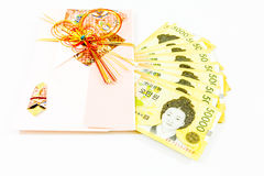 Korea money wit Gift envelope on white background Royalty Free Stock Photos