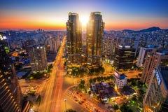 Korea night view, Night traffic speeds at Lotte in Seoul. Royalty Free Stock Photos