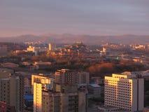 korea norr pyongyang sundown arkivbild